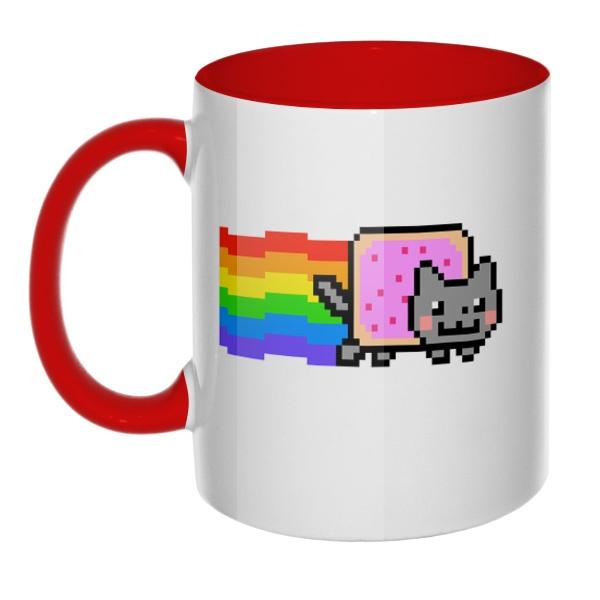 Кружка Nyan Cat цветная внутри и ручка