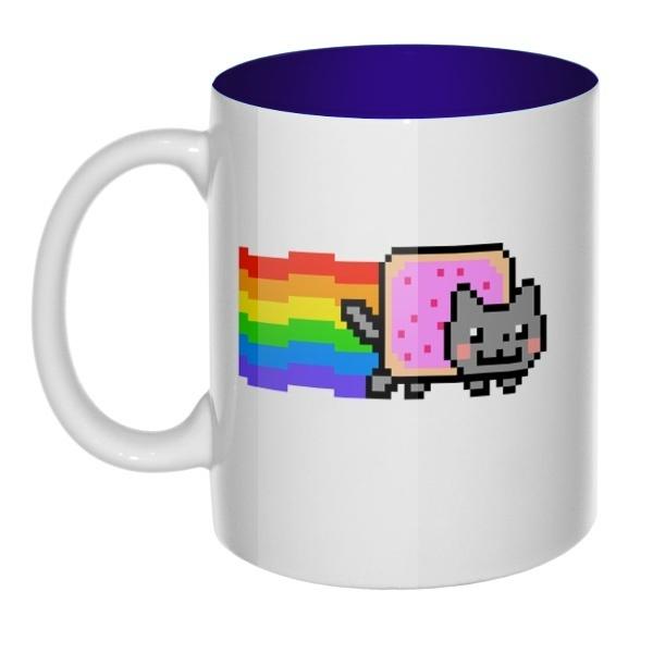 Кружка цветная внутри Nyan Cat, цвет темно-синий