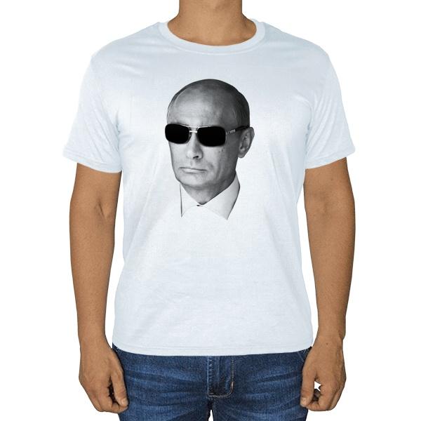 Белая футболка Путин в очках