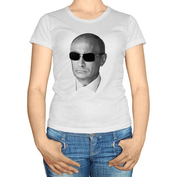 Женская футболка Путин в очках