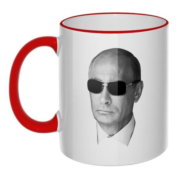 Кружка Путин в очках с цветным ободком и ручкой