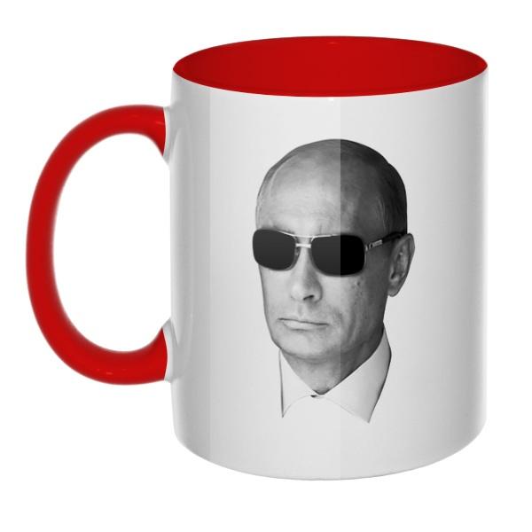 Путин в очках, кружка цветная внутри и ручка