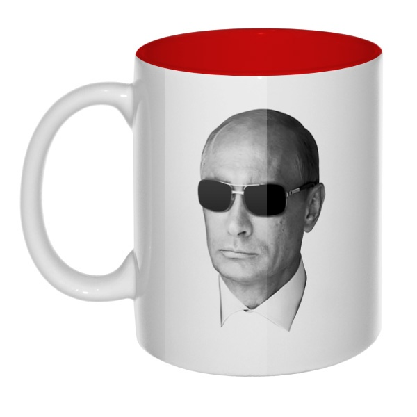 Путин в очках, кружка цветная внутри