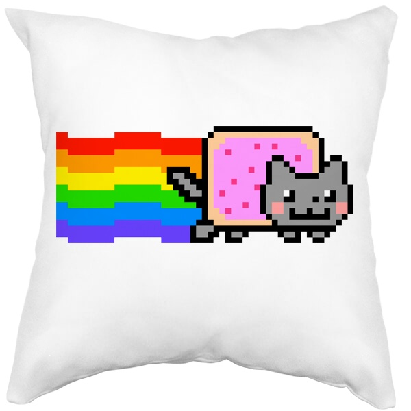 Подушка белая Nyan Cat, цвет белый