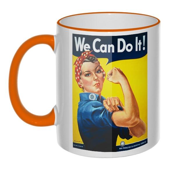 Кружка We can do it! с цветным ободком и ручкой