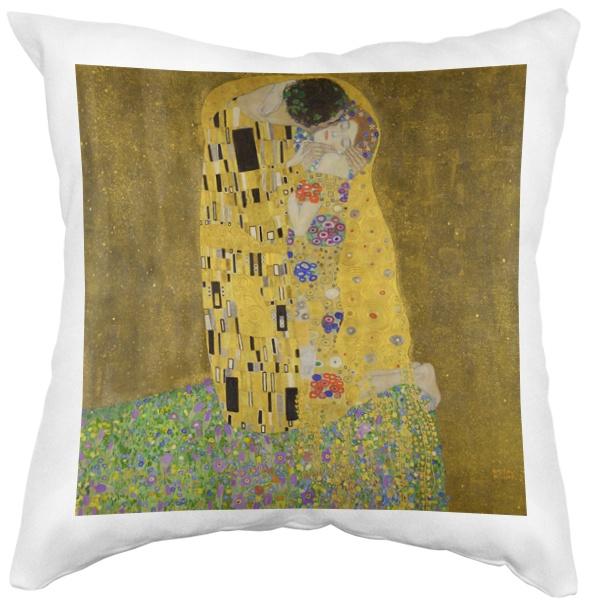 Подушка белая Картина Поцелуй