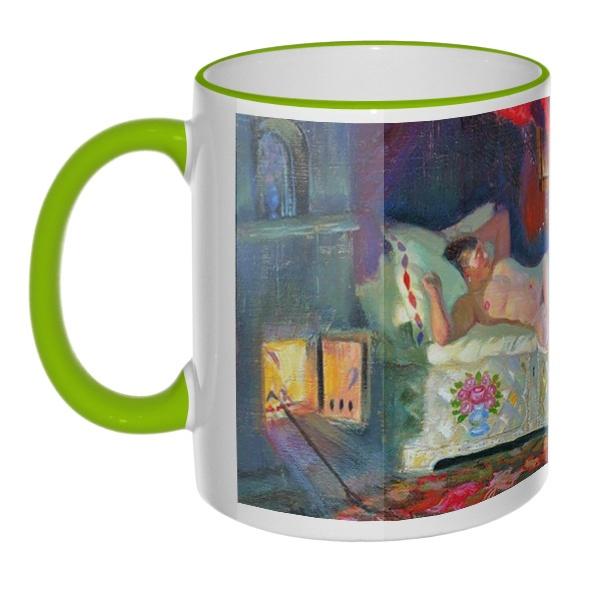 Кружка Картина Купчиха и домовой с цветным ободком и ручкой