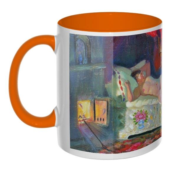 Картина Купчиха и домовой, кружка цветная внутри и ручка