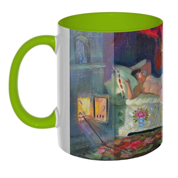 3D-кружка Картина Купчиха и домовой, цветная внутри и ручка