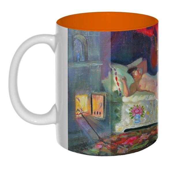 Цветная внутри 3D-кружка Картина Купчиха и домовой