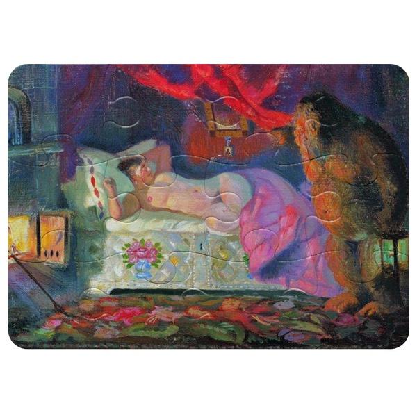 Магнитный пазл А5 (12 элементов) Картина Купчиха и домовой