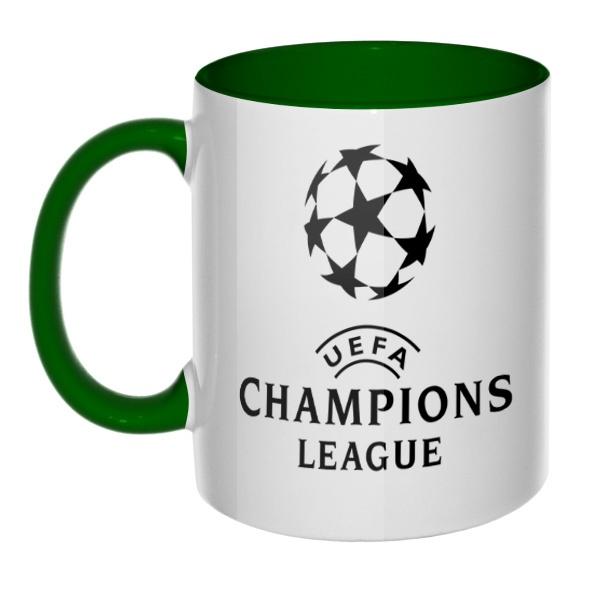 Кружка Лига чемпионов (Champions League) цветная внутри и ручка