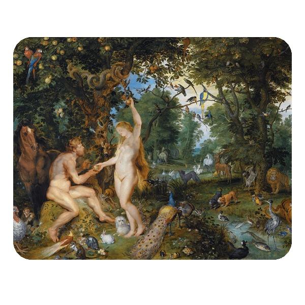 Эдемский сад с грехопадением человека, коврик для мыши прямоугольный, цвет белый