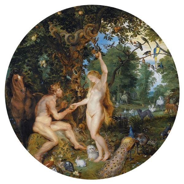 Круглый коврик для мыши Эдемский сад с грехопадением человека