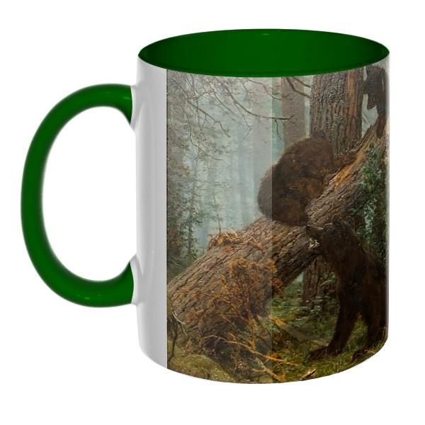 3D-кружка Утро в сосновом лесу, цветная внутри и ручка