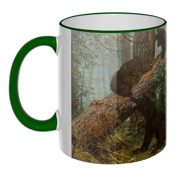 Цветная 3D-кружка (ободок + ручка) Утро в сосновом лесу