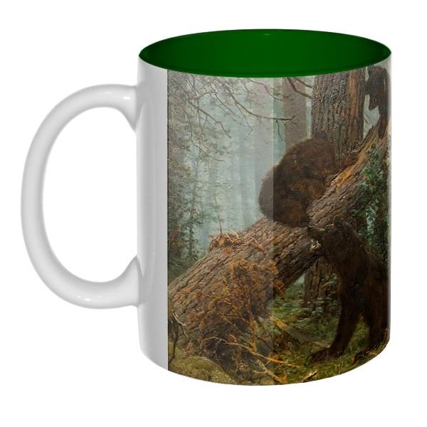 Утро в сосновом лесу, цветная внутри 3D-кружка