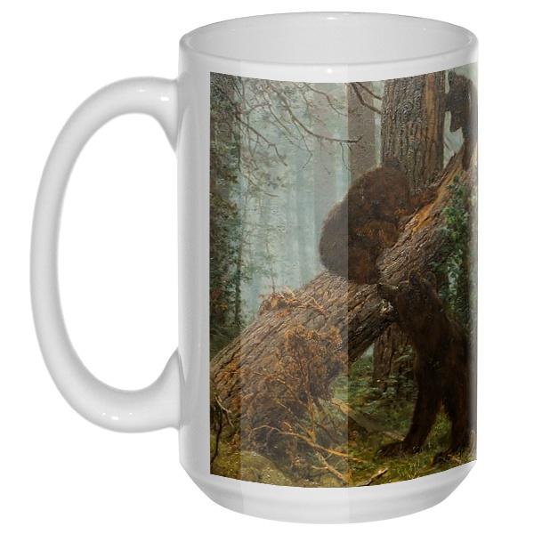 Утро в сосновом лесу, большая кружка с круглой ручкой