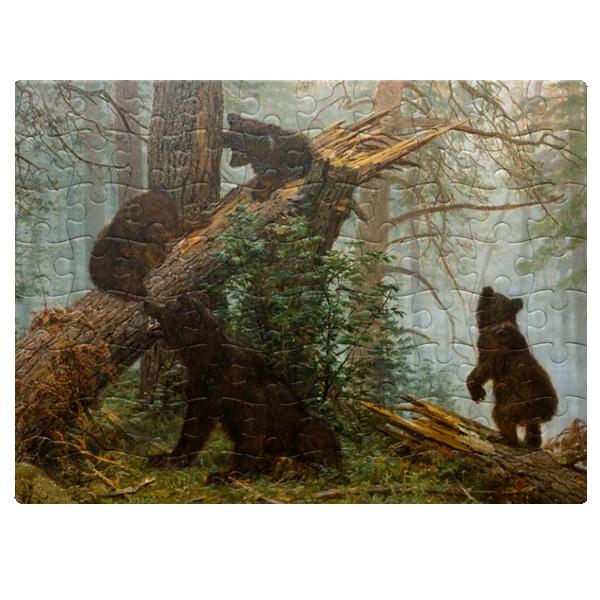 Утро в сосновом лесу, магнитный пазл A5