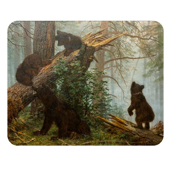 Утро в сосновом лесу, коврик для мыши прямоугольный