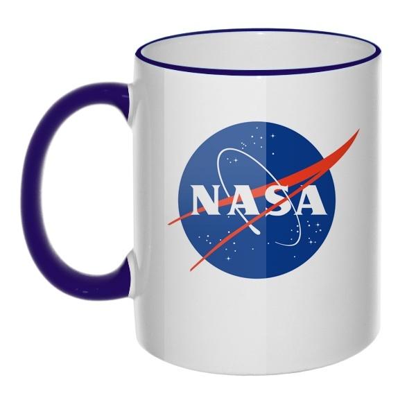 Кружка NASA с цветным ободком и ручкой