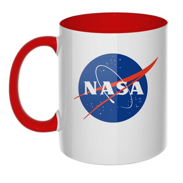 Кружка NASA цветная внутри и ручка