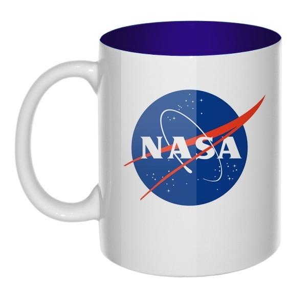 Кружка цветная внутри NASA, цвет темно-синий