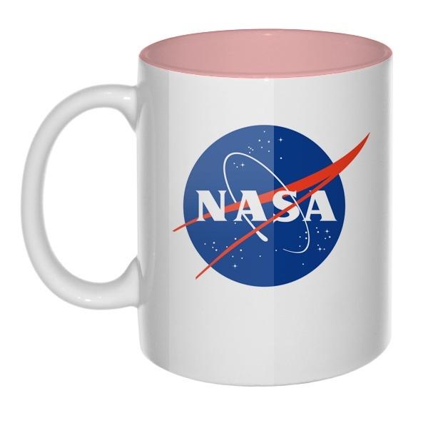 Кружка цветная внутри NASA, цвет розовый