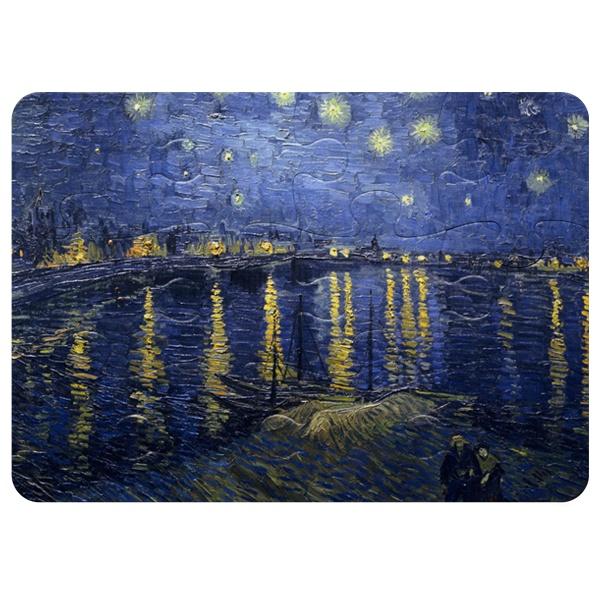 Звёздная ночь над Роной, магнитный пазл A5 с крупными элементами