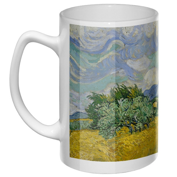 Большая кружка Пшеничное поле с кипарисом