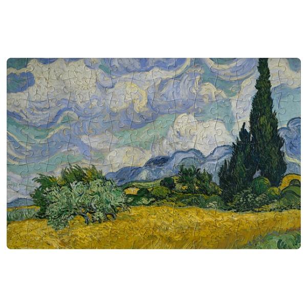 Магнитный пазл Пшеничное поле с кипарисом, формат A4