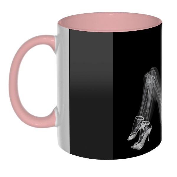 3D-кружка Скелет девушки на рентгене, цветная внутри и ручка
