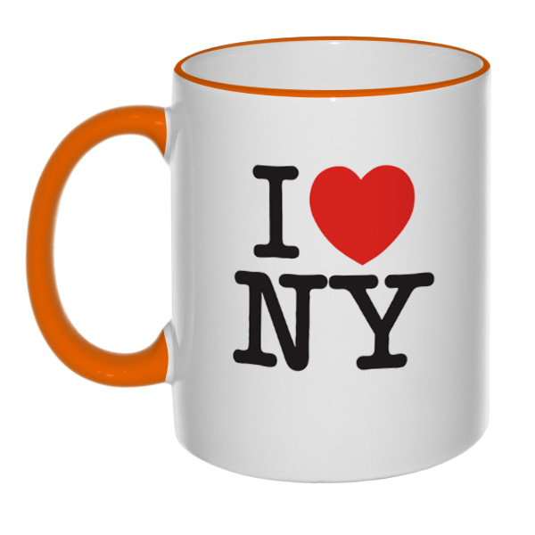 Кружка I love NY (цветной ободок и ручка)