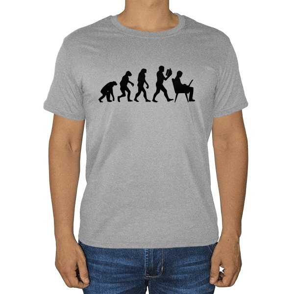 Эволюция, серая футболка (меланж)