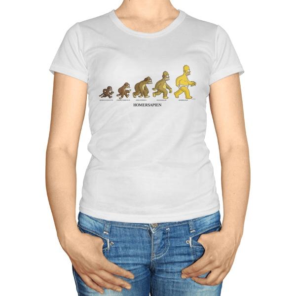 Женская футболка Эволюция Гомера Симпсона