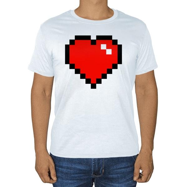 Белая футболка Пиксельное сердце, цвет белый