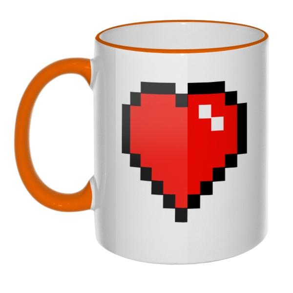 Кружка Пиксельное сердце с цветным ободком и ручкой, цвет оранжевый