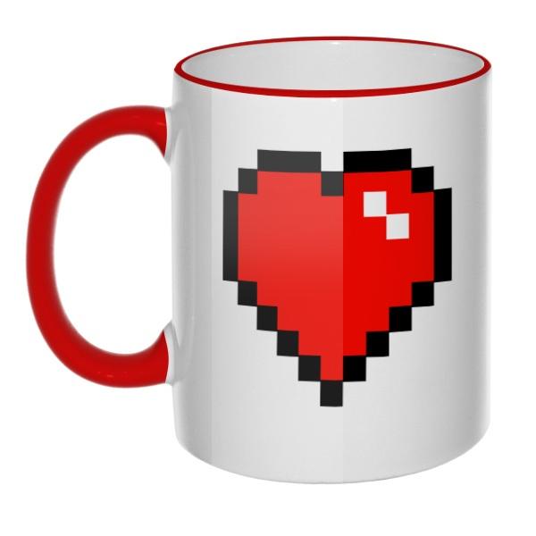 Кружка Пиксельное сердце с цветным ободком и ручкой