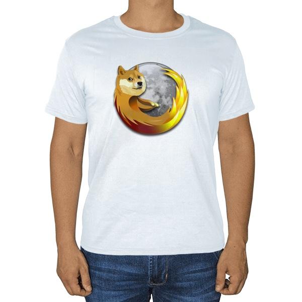 Собака Firefox, белая футболка
