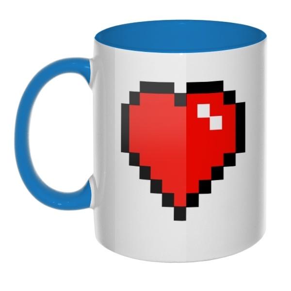 Кружка Пиксельное сердце цветная внутри и ручка