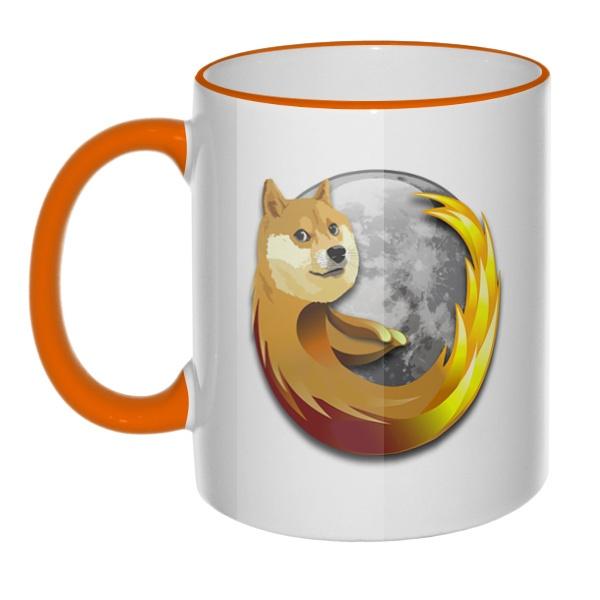 Кружка Собака Firefox с цветным ободком и ручкой