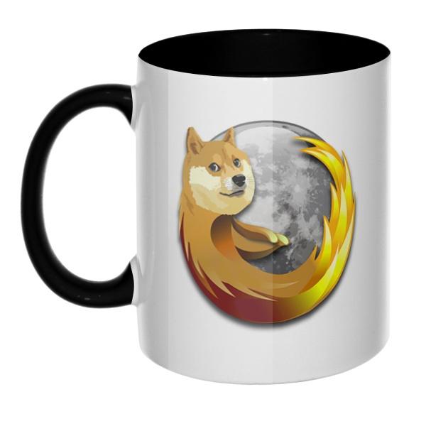 Собака Firefox, кружка цветная внутри и ручка