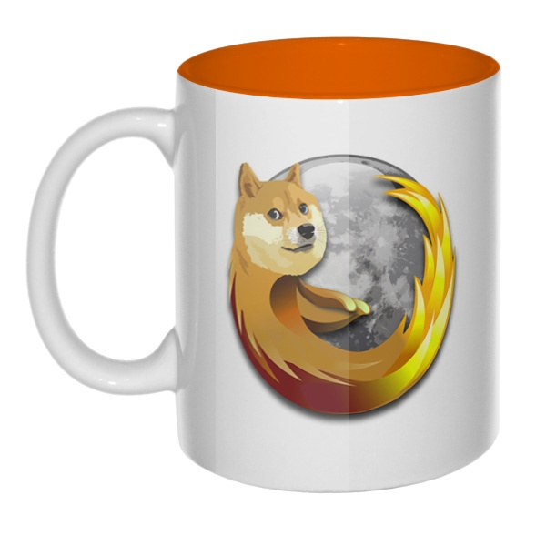 Собака Firefox, кружка цветная внутри