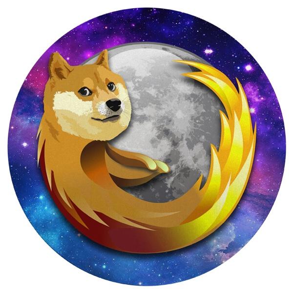 Круглый коврик для мыши Собака Firefox