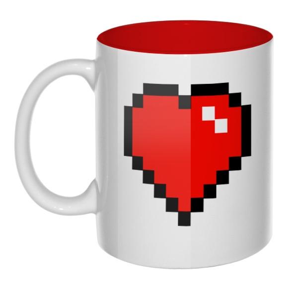 Кружка цветная внутри Пиксельное сердце