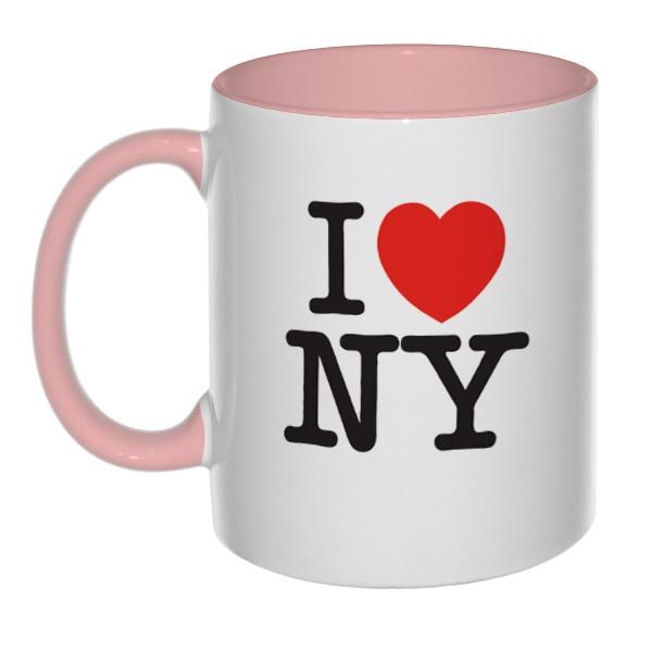 Кружка I love NY (цветная внутри и ручка)