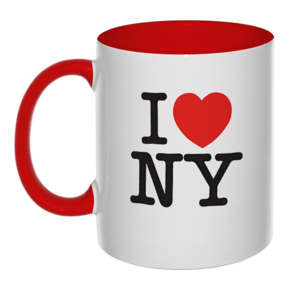 Кружка I love NY (цветная внутри и ручка), цвет красный