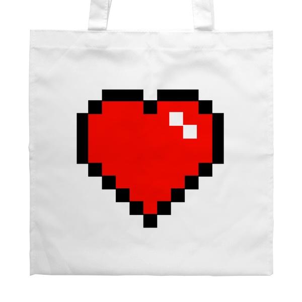 Белая сумка Пиксельное сердце