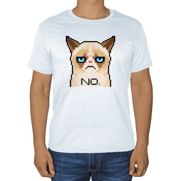 Сердитый кот (пиксельный), белая футболка
