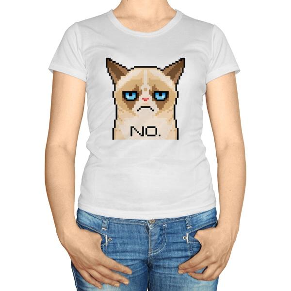 Женская футболка Сердитый кот (пиксельный)